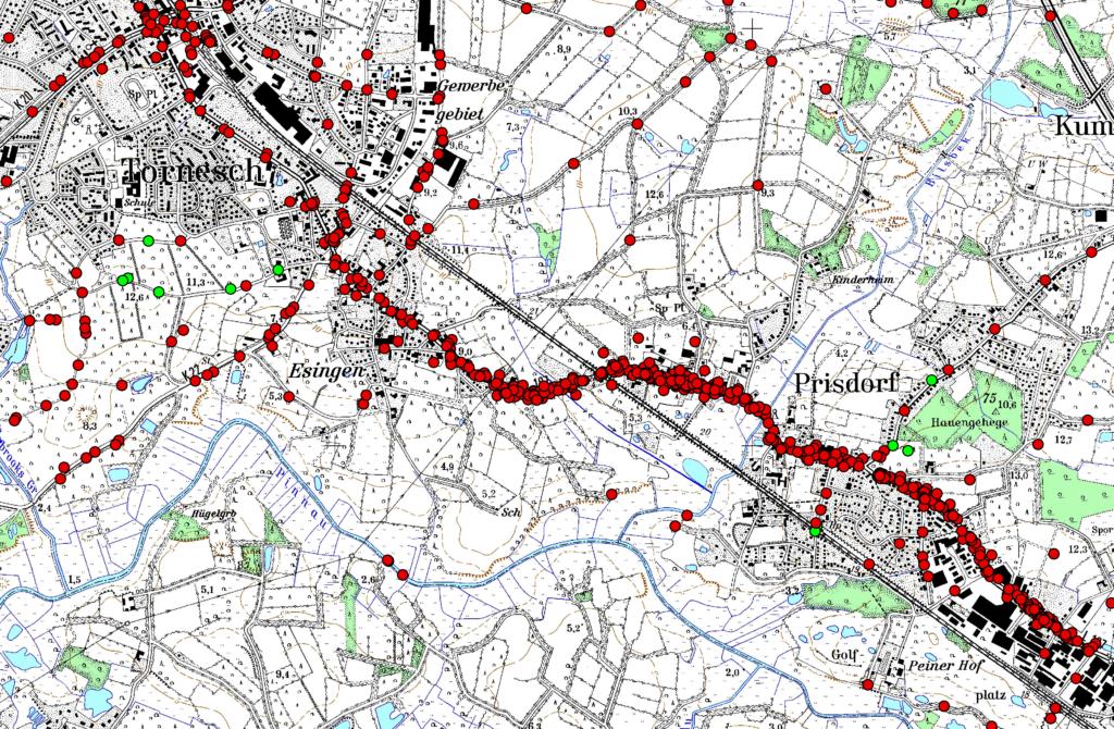 Aus dem Radverkehrskonzept: Jeder rote Punkt ist ein gemeldeter Mangel, die L 107 hat bei einer Befragung, die Ende 2019 vom Kreis durchgeführt wurde, ihr Fett weggekriegt.